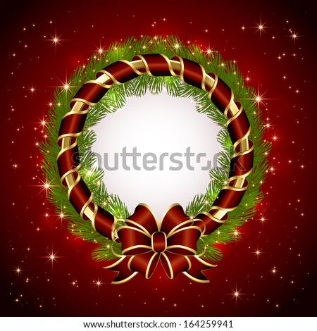 Red background with Christmas decoration, bow and spruce branches, illustration. - stock photo
