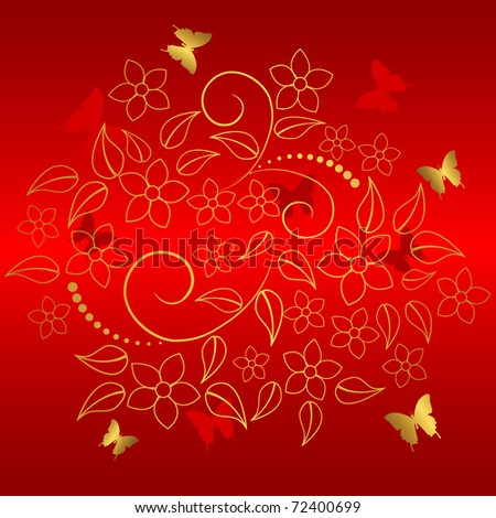 Red background with gold floral and butterflies.