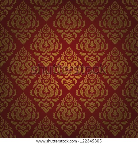 Red background with gold floral pattern. Vintage wallpaper - stock photo