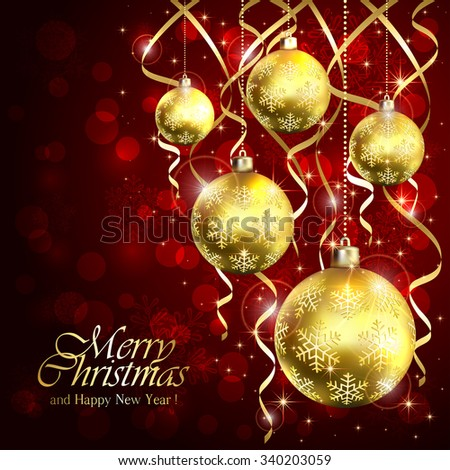 Red background with golden Christmas balls and tinsel, illustration. - stock photo