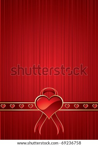 Red background with heart and ribbon for valentine day - stock photo