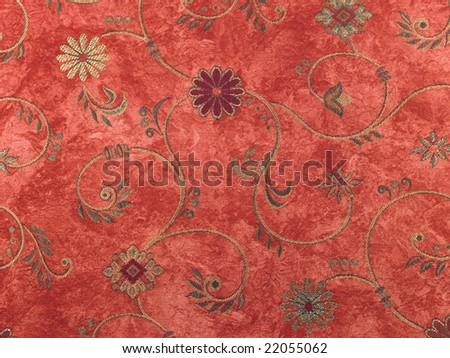 Red background with many flowers - stock photo
