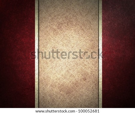red background with parchment white background and white ribbon stripes, with black  grunge texture and old vintage design, and red frame - stock photo
