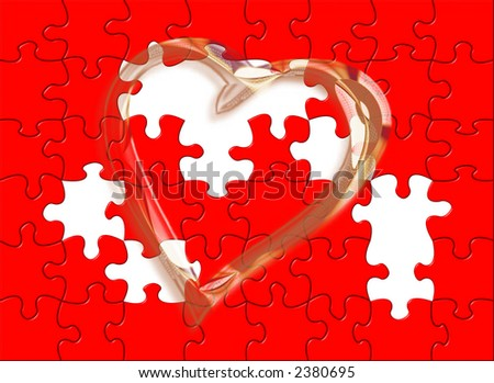 red background with puzzle and golden heart