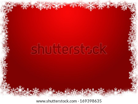 red background with snowflakes - stock photo