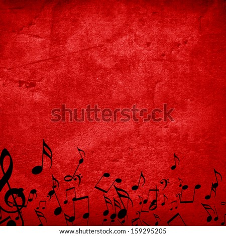red background with some music notes on it - stock photo