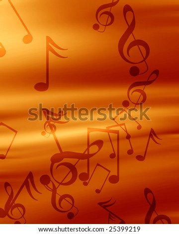 red background with some music notes on it