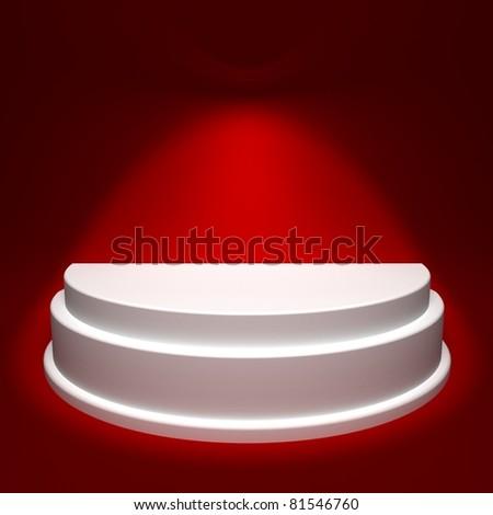 Red Background with White Podium - stock photo