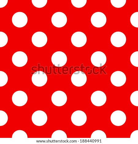 Red background with white polka dots pattern - stock photo