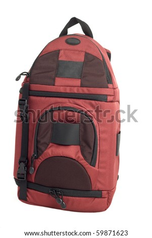 Red Backpack against a white background.