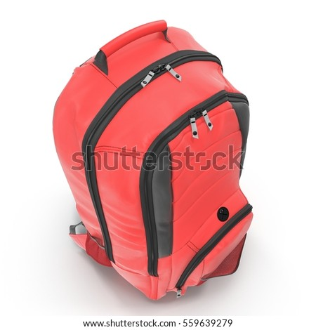 Red Backpack isolated in white. 3D illustration
