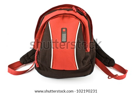Red backpack isolated on white - stock photo