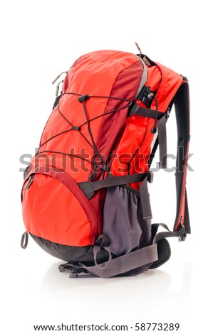 Red backpack, isolated over white. - stock photo
