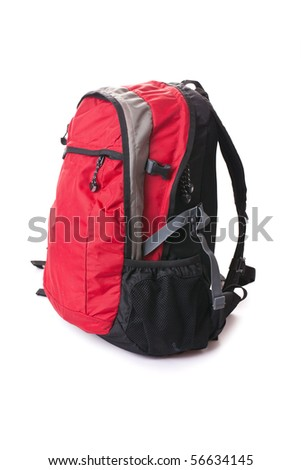 red  backpack on white background - stock photo