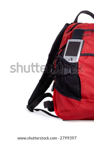 Red backpocket with pocket pc and GPS isolated over white background - stock photo