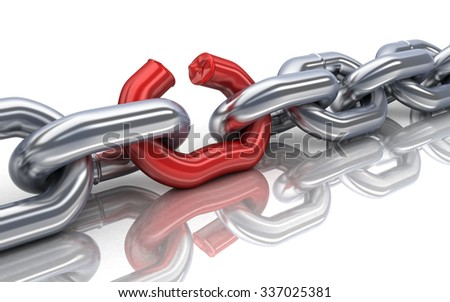Red bad chain (done in 3d) - stock photo