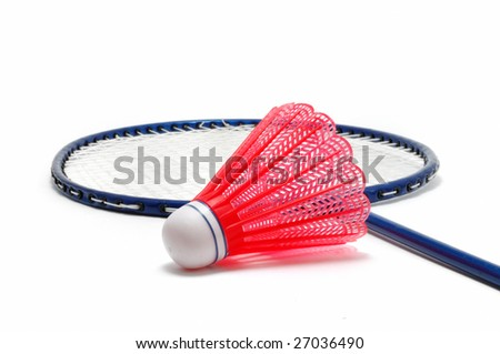 Red Badminton Shuttlecock (Birdie) and Racket isolated on white