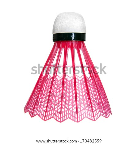 Red badminton shuttlecock isolated on white - stock photo