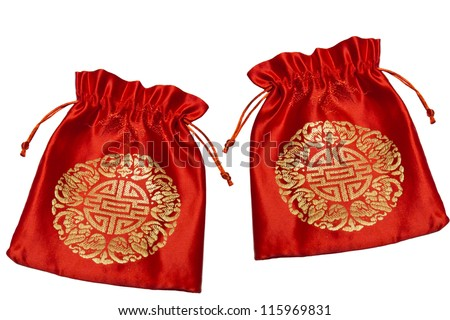 Red bag for Chinese New Year on white background - stock photo