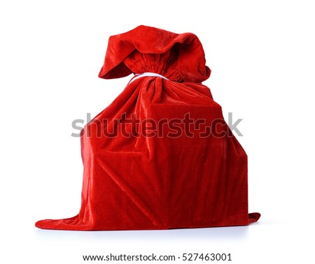 Red bag of Santa Claus, full of gifts, on white background. File contains a path to isolation