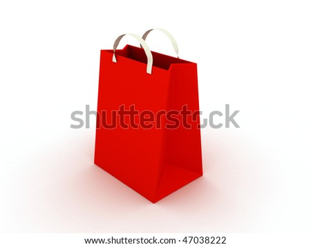 Red bag on white background. 3d render