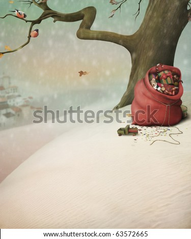Red bag with gifts for Christmas in the winter forest - stock photo