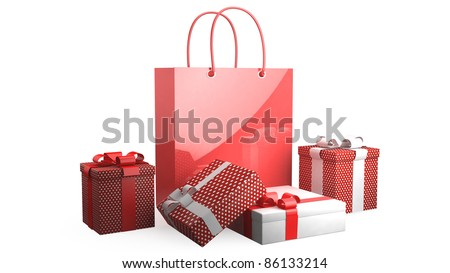 Red bag with presents on white background - stock photo
