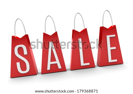 Red bags illustration isolated on white background