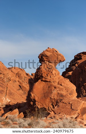 Red balancing rock sandstone formations in the early morning light in Valley of Fire State Park, Nevada - stock photo