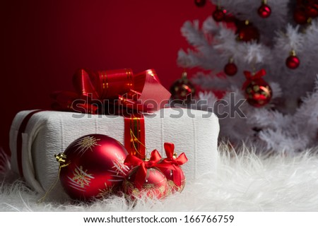 red ball and gift - stock photo