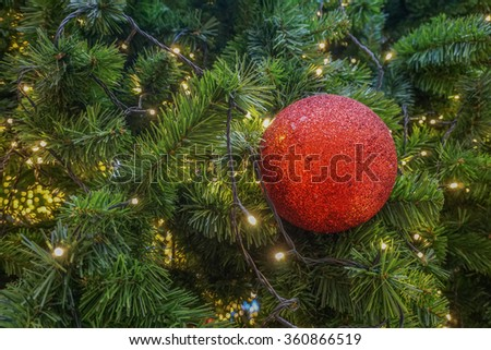 Red ball decoration on christmas tree - stock photo