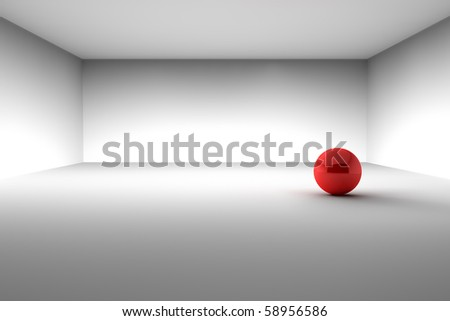 Red Ball in the Empty Room - stock photo