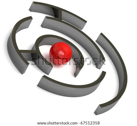 Red ball in the labyrinth - stock photo