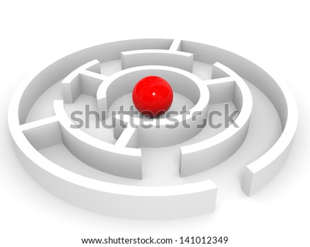 Red ball into the maze. Success concept. 3D illustration. - stock photo