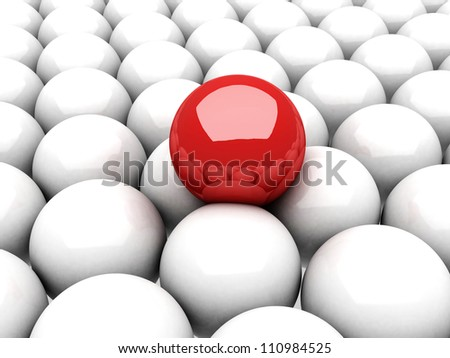 red ball leader on many white balls - stock photo