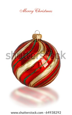Red ball of christmas on a over white background - stock photo