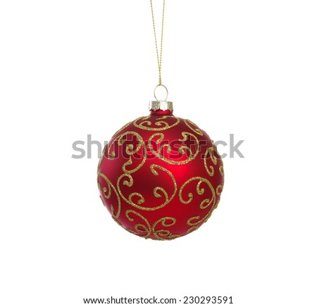 Red ball of christmas on white background - stock photo