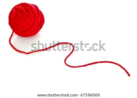 Red ball of woollen red thread isolated on white - stock photo