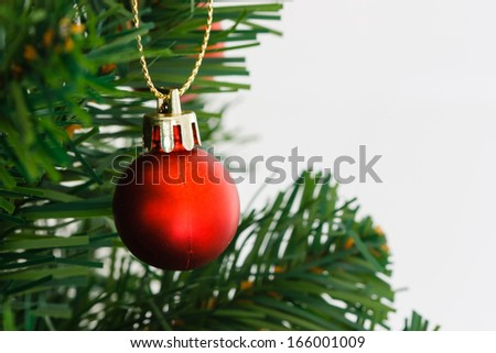 Red ball ornament Christmas trees on the background - stock photo