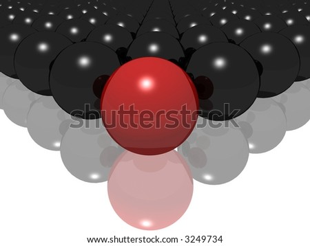 Red ball stands out