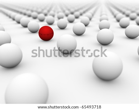 Red ball surrounded by white ones with the focus on it. - stock photo