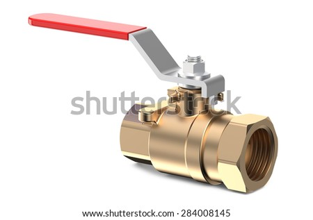 red  Ball Valve isolated on white background - stock photo