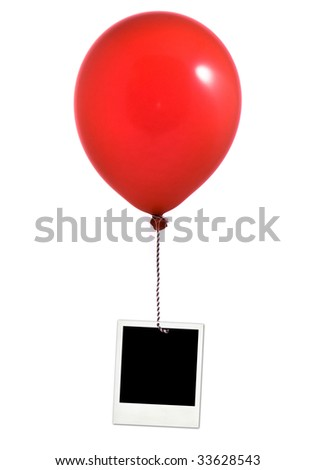 Red balloon and photo frame on white background - stock photo