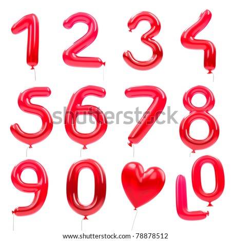 red balloon font / red balloon numbers / isolated on white - stock photo