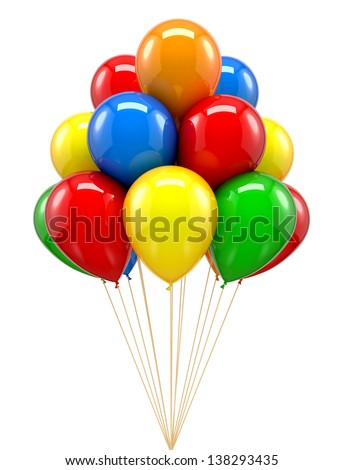 Red balloon for party, birthday, colourful, colour - stock photo
