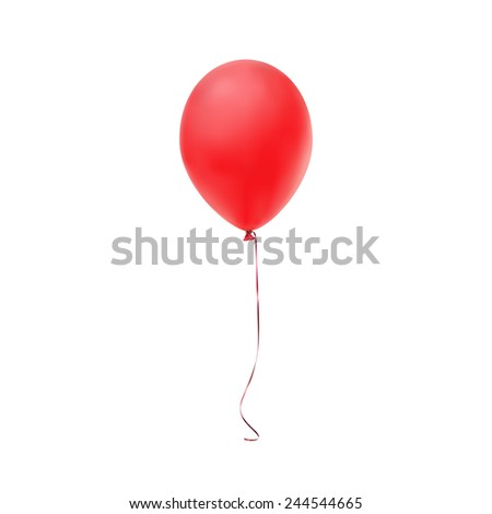 Red balloon icon isolated on white background - stock photo
