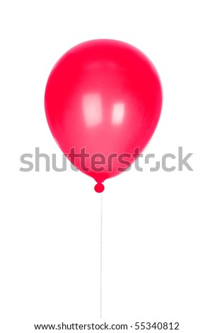 Red Balloon inflated isolated on white background - stock photo