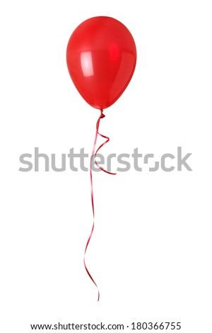 Red balloon on white - stock photo