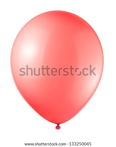 red balloon soaring on a white background - stock photo