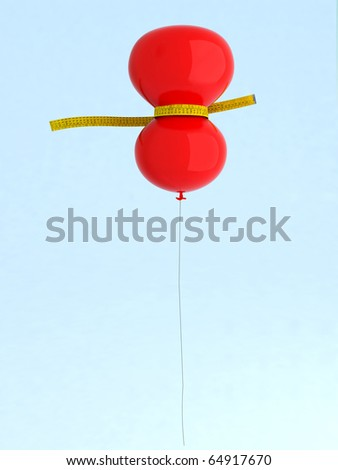 red balloon with meters that measure - stock photo